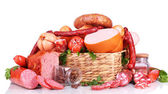 Lot of different sausages in basket isolated on white — Stock Photo