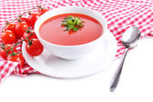 Tasty tomato soup, isolated on white — Stock Photo