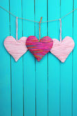 Decorative heart on wooden background — Foto Stock