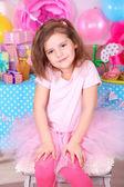 Pretty little girl celebrate her birthday — Стоковое фото