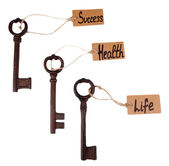 Keys to happiness, Conceptual photo. Isolated on white — Stockfoto