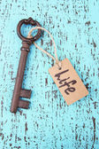Key to life, Conceptual photo. On color wooden background — Stock Photo