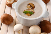 Mushroom soup in white pot on wooden background — Stock Photo