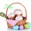 Beautiful Easter cakes in basket, colorful eggs and pussy-willow twigs isolated on white — Stock Photo #42980967