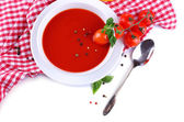 Tasty tomato soup and vegetables, isolated on white — Stock Photo