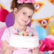 Pretty little girl with cake celebrate her birthday — Stock Photo