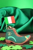 Saint Patrick day boot with gold coins and clover leaves on green background — Stock Photo