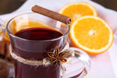 Mulled wine with oranges close up — Stock Photo