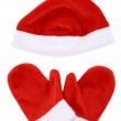 Christmas red gloves and hat, isolated on white — Stock Photo