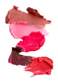 Collection of various lipstick smeared, isolated on white — Stock Photo
