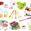 Collage of pharmaceutical products isolated on white — Stock Photo #43069529