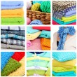 Collage of plaids and color pillows — Stock Photo