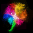 Colorful powders in shape of flower, on black background — Stock Photo #43069593