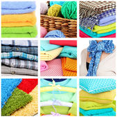 Collage of plaids and color pillows — ストック写真