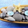 Wooden bowl with Spa stones, sea shells and candles on color background — Stock Photo #43071731