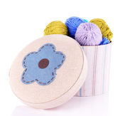 Decorative box with colorful yarn for knitting isolated on white — Stock Photo