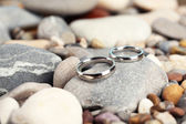 Wedding rings on rocks close-up — Стоковое фото