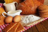 Tasty flour products close up — Stockfoto