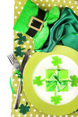 Table setting for St Patricks Day with white background — Stockfoto
