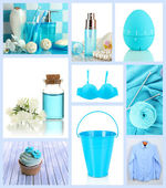 Collage of photos in blue colors — Stock Photo