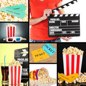 Collage of photos about cinema — Stock Photo