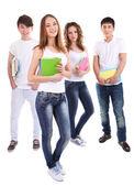 Grupp lycklig vackra ungdomar isoleras på vit — Stockfoto