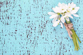 Bouquet of beautiful snowdrops on blue wooden background — Photo