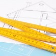 Ruler on drawing close up — Stock Photo #43204491