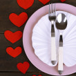 Valentines day dinner with table setting on wooden table close-up — Stock Photo #43205187