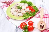 Meat dumplings - russian boiled pelmeni close up — Foto de Stock