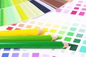 Color samples with pencils close up — Stock Photo
