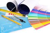 ツールとカラー サンプル図面をクローズ アップ — ストック写真