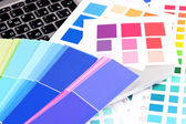 Color samples on keyboard close up — Stock Photo