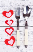 Valentines day dinner with table setting on wooden table close-up — Stock Photo