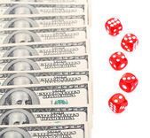 Red dices and money, isolated on white — Stock Photo