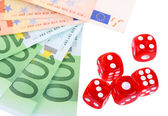 Red dices and money, isolated on white — Stockfoto