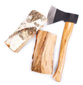 Ax and firewood, isolated on white — Stock fotografie