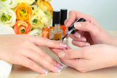 Manicure process in beauty salon close up — Stock Photo