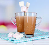 Hot chocolate with marshmallows, on light background — Foto de Stock
