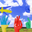 Flag of different countries painted on hand — Stock Photo