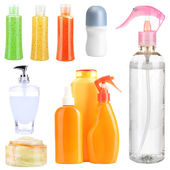 Collage of cosmetic bottles isolated on white — Stock Photo