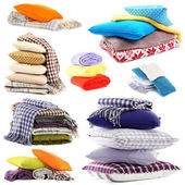 Collage of plaids and color pillows isolated on white — Stok fotoğraf