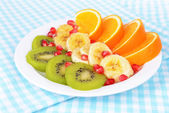 Sweet fresh fruits on plate on table close-up — Stok fotoğraf