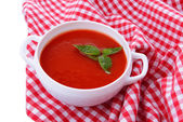 Tasty tomato soup, close up — Photo