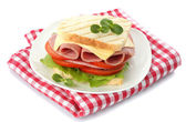 Tasty sandwich with ham, isolated on white — Foto Stock