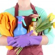 Housewife holding cleaning equipment in her hands. Conceptual photo of spring cleaning. Isolated on white — Stock Photo