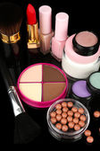Professional make-up tools on black background — Stock Photo