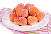 Delicious cookies peaches on plate close-up — Stock Photo