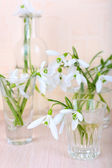 Beautiful bouquets of snowdrops in vases on light background — Stock Photo