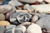 Wedding rings on rocks close-up — Stock Photo